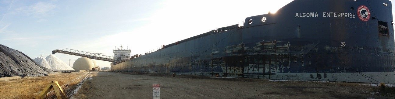 Photo of the Algoma Enterprise offloading bulk salt