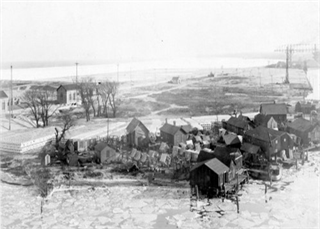 Historical photo of fishing village on Jones Island